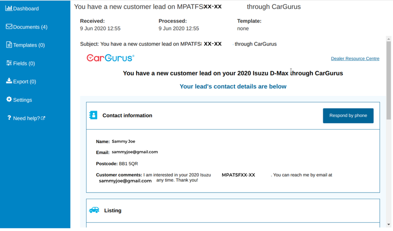 This is an example of a typical email received from CarGurus.com