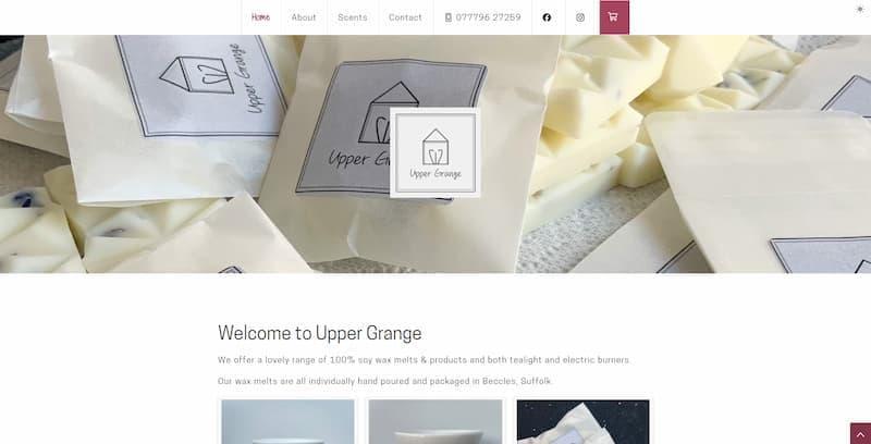 Desktop view of uppergrange.co.uk website.