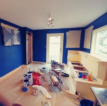 blue room being painted