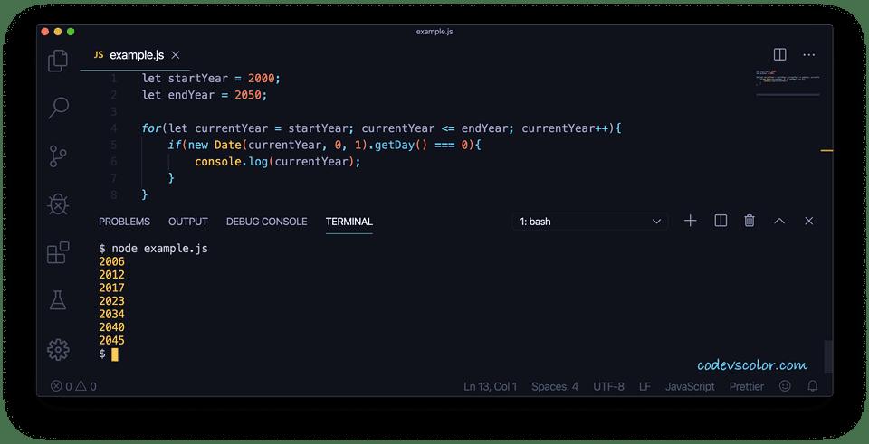 JavaScript first january sunday