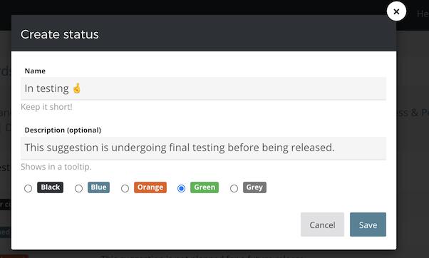 Creating a custom status with emoji