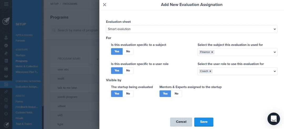Add new evaluation assignation