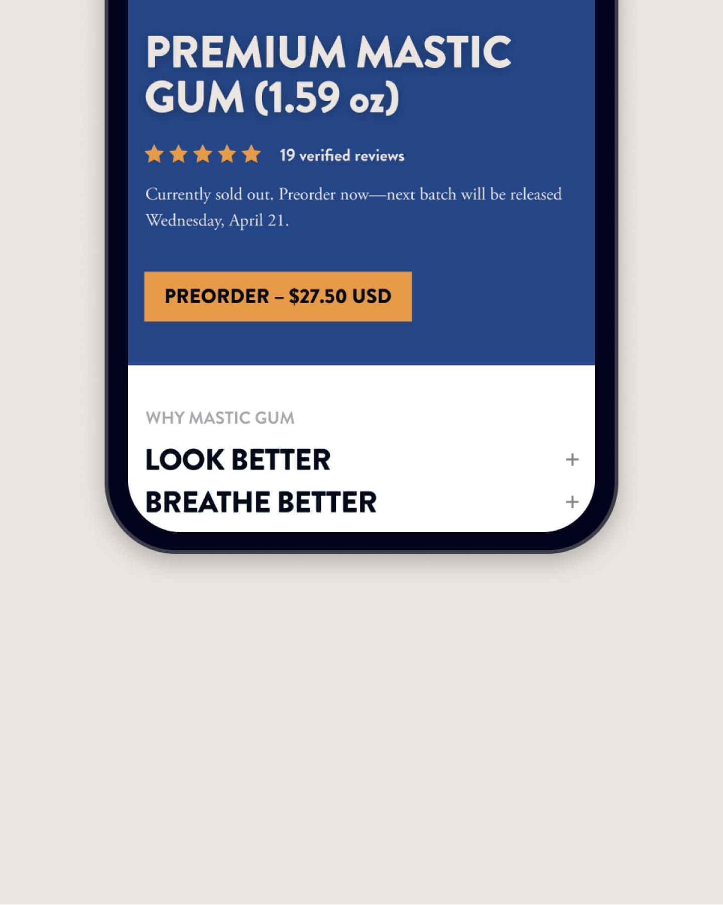 Mobile e-commerce website design for Greco Gum, natural health brand
