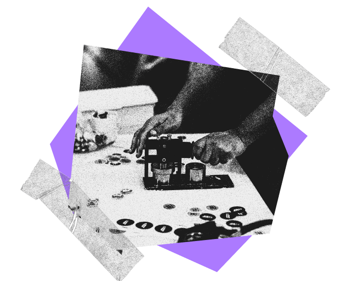 Collage made up of purple abstract shapes, and transparent tape, flanking a photograph of an AIGA member making buttons with a button maker.