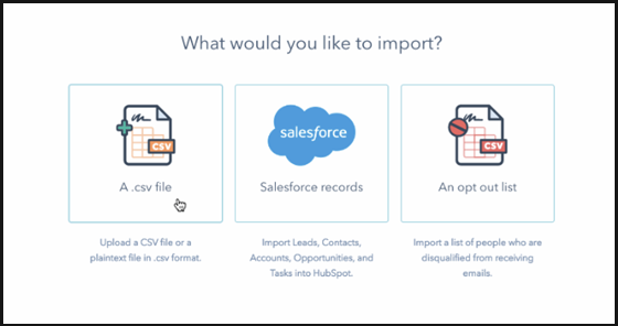 Select 'a csv file' from the Import Window