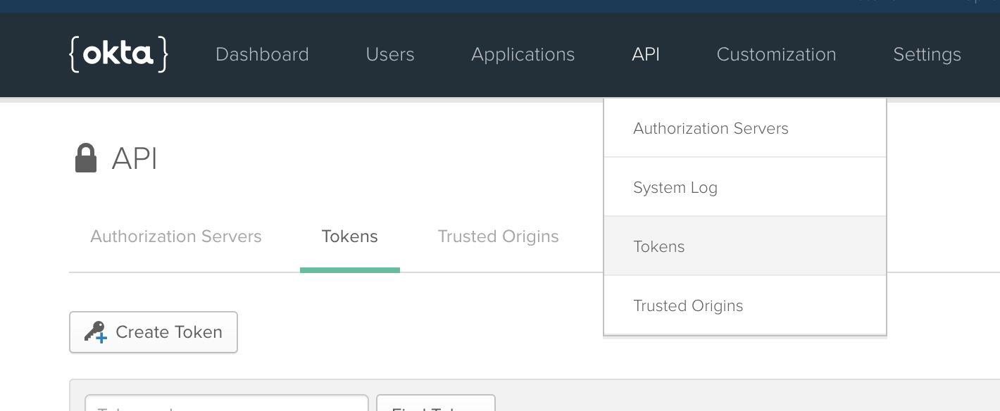 Select tokens from the dropdown menu under API
