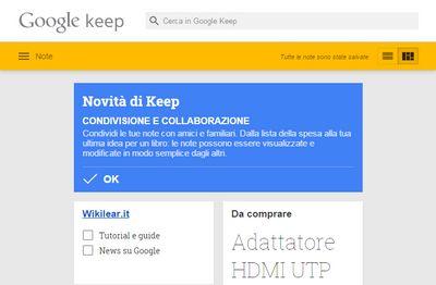 Google Keep aperto con lapp per Chrome