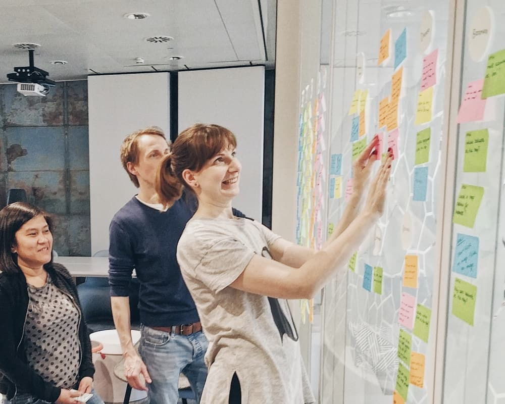 Cross-functional app team during ideation workshops and design sprints