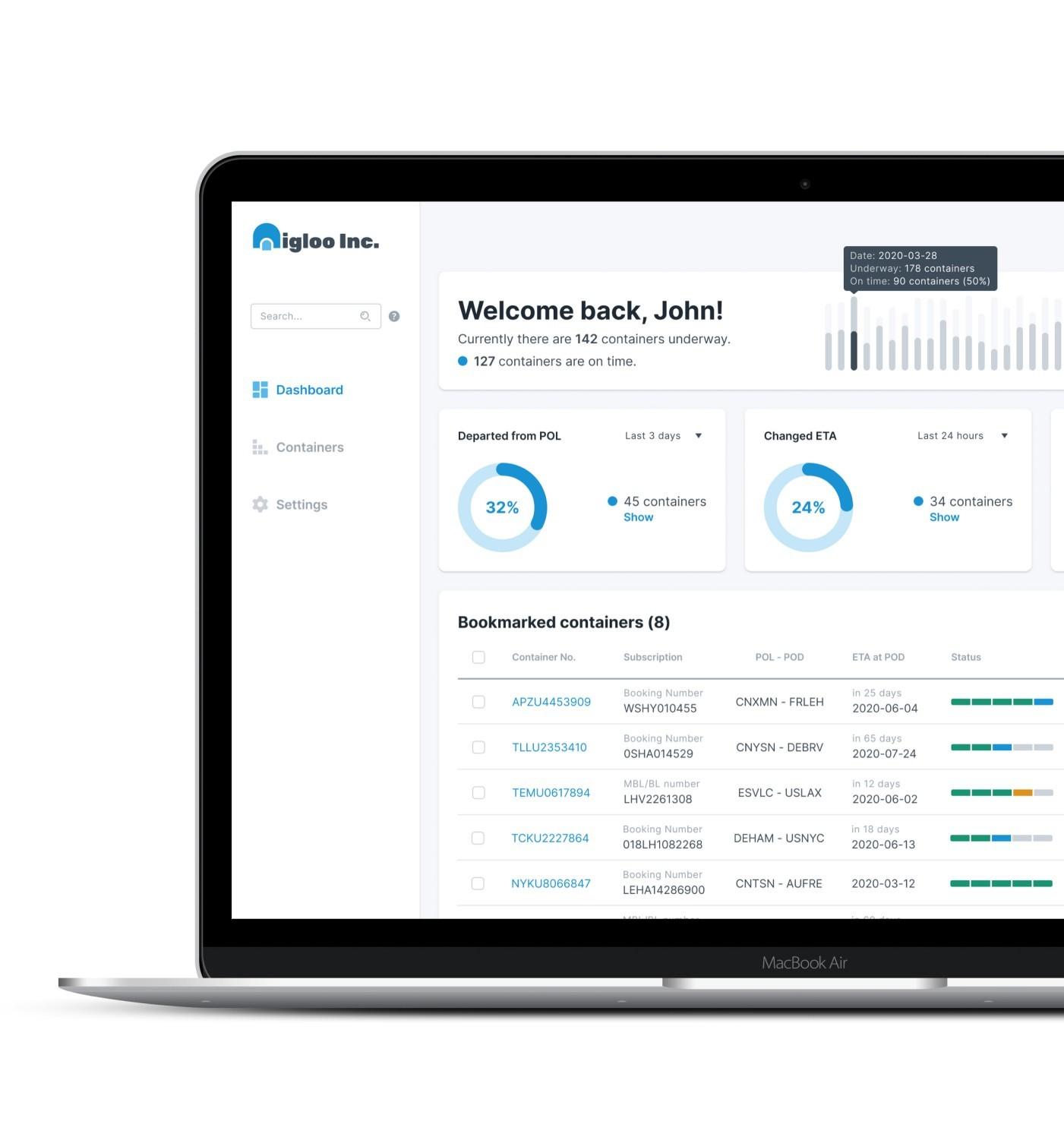 Intuitives Kundenservice-Portal für die Containerverschiffung