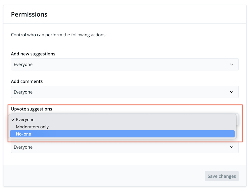 Screenshot of disabling voting in Feature Upvote