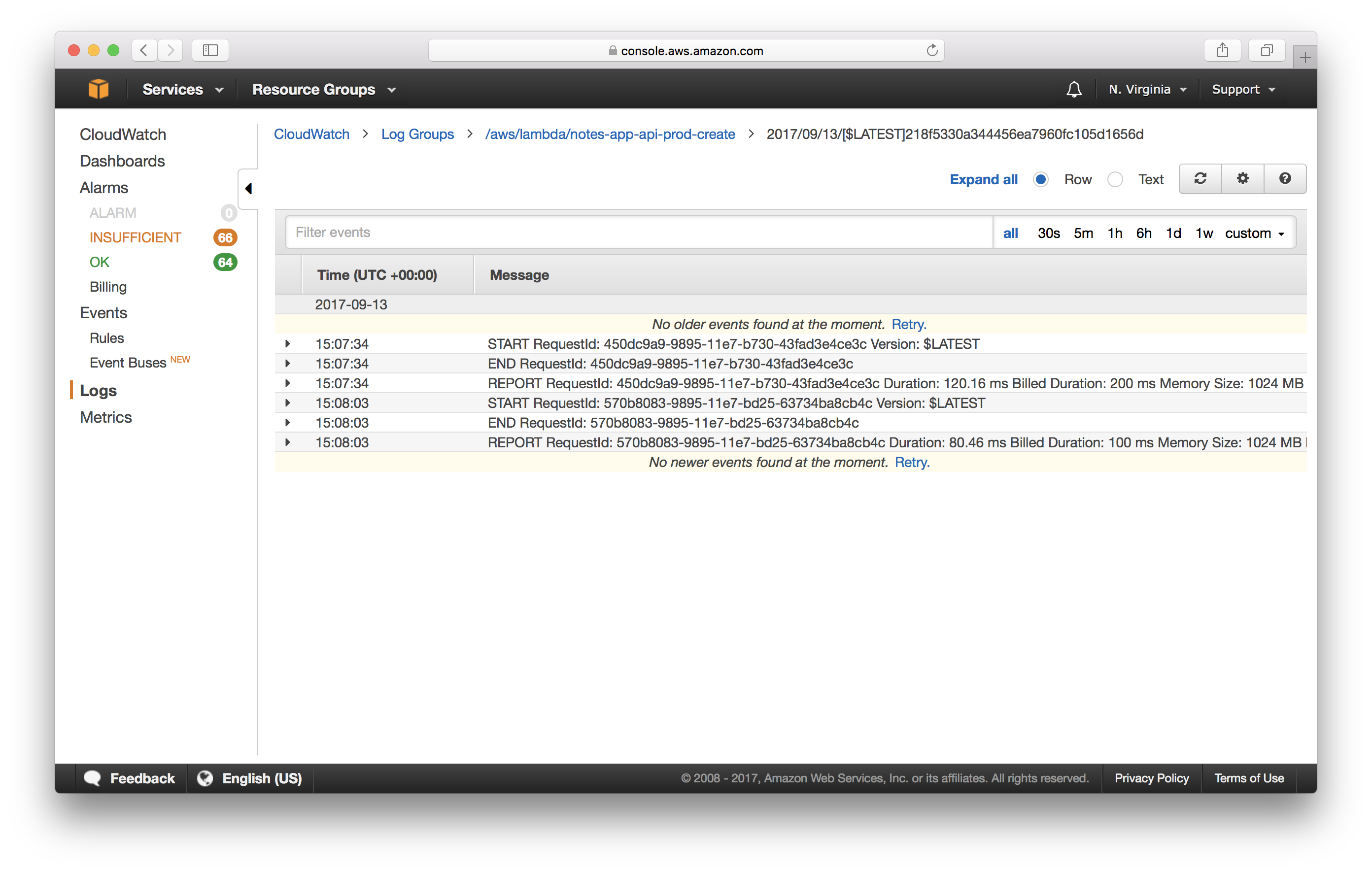 CloudWatch Lambda Log Entries Screenshot