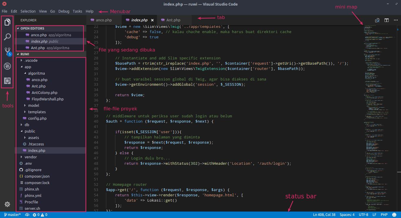 Tampilan VS Code