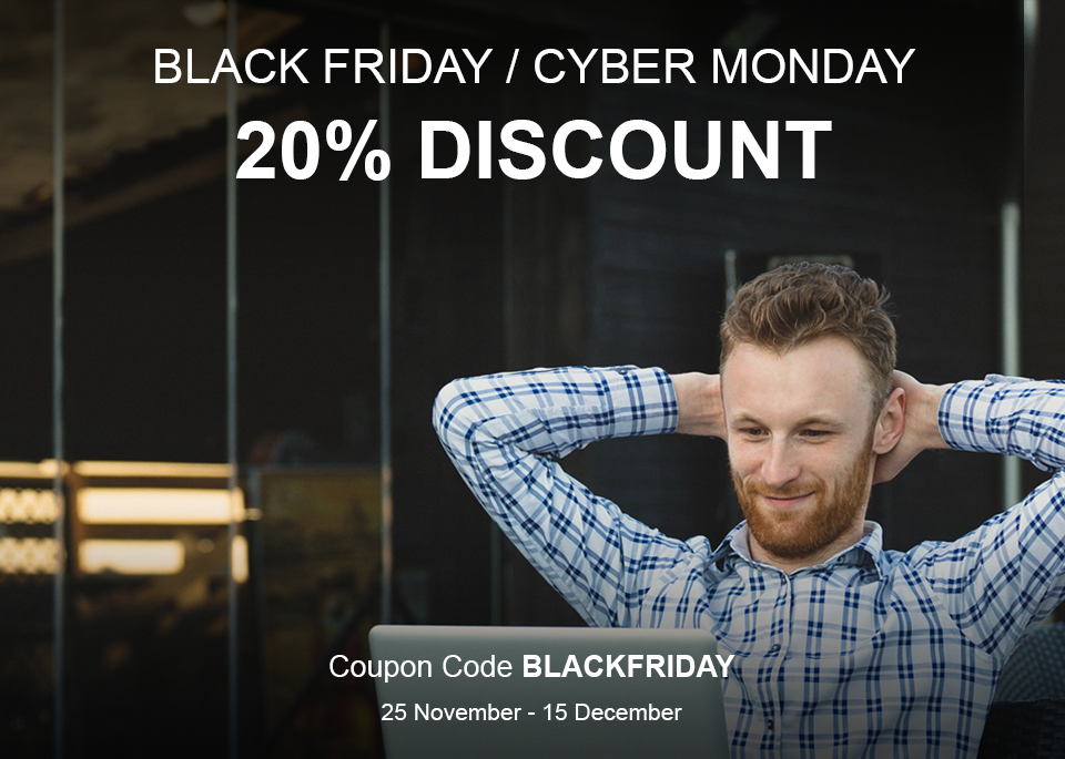 Relaxed person with laptop and Black Friday / Cyber Monday coupon code