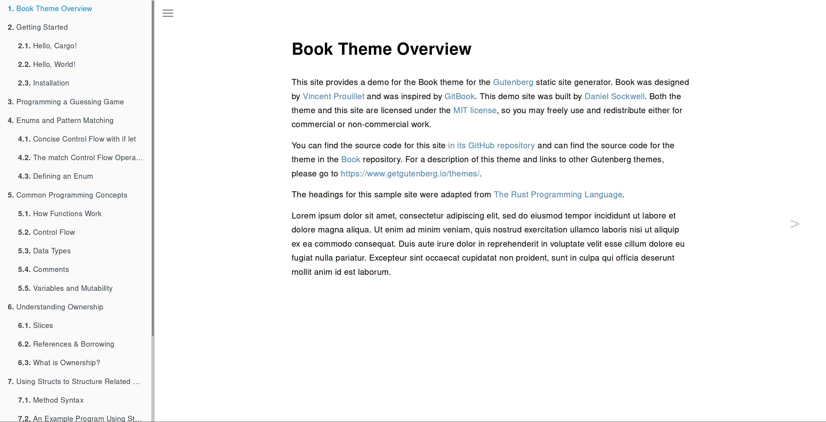 Screenshot of Book theme