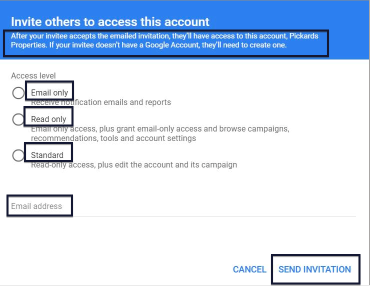Google Ads invite people to access account