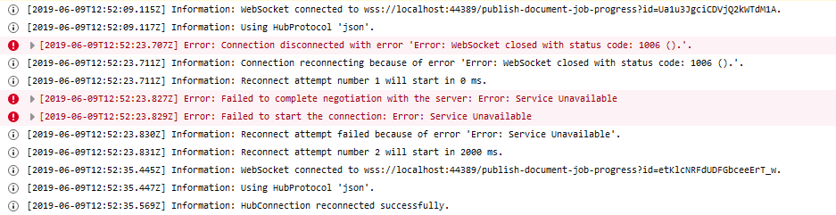 SignalR tries to reconnect using exponential back-off
