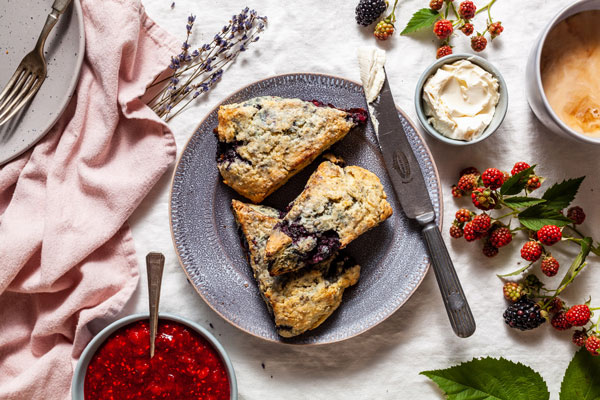 Blackberry Lemon Scones With a Lavender Glaze