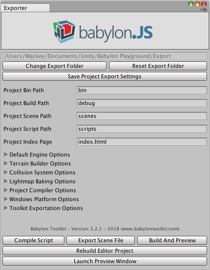 Export Panels (Unity exporter) - Babylon js Documentation