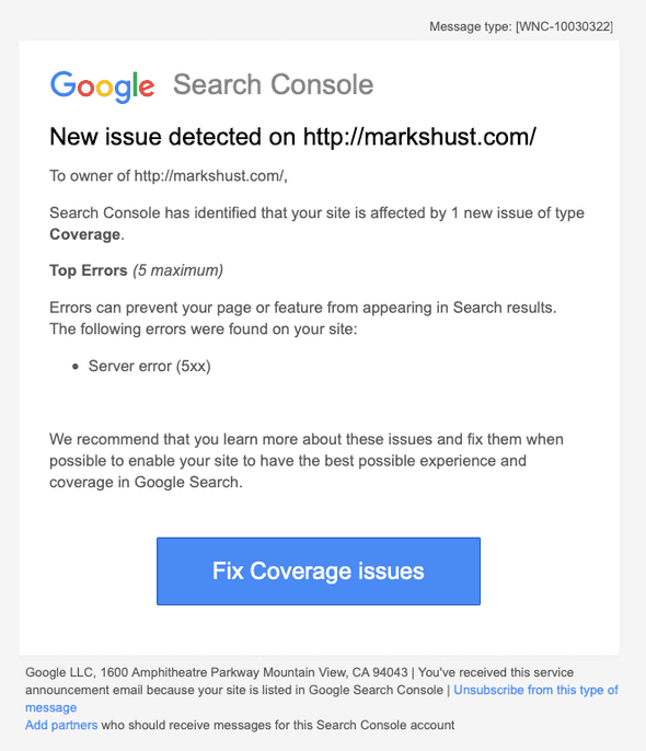 Coverage email