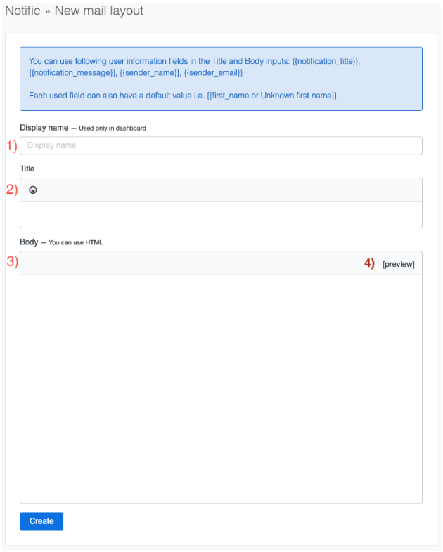 alt Mail layout form