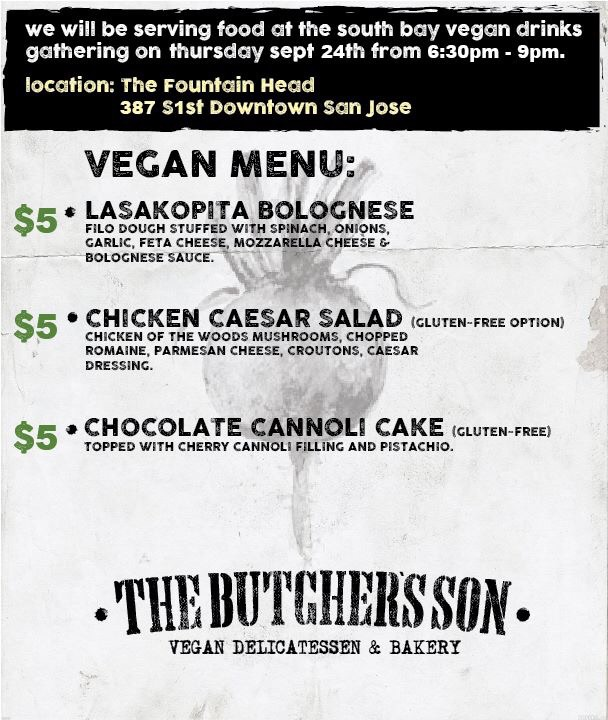 The Butcher's Son popup at South Bay Vegan Drinks September 24, 2015