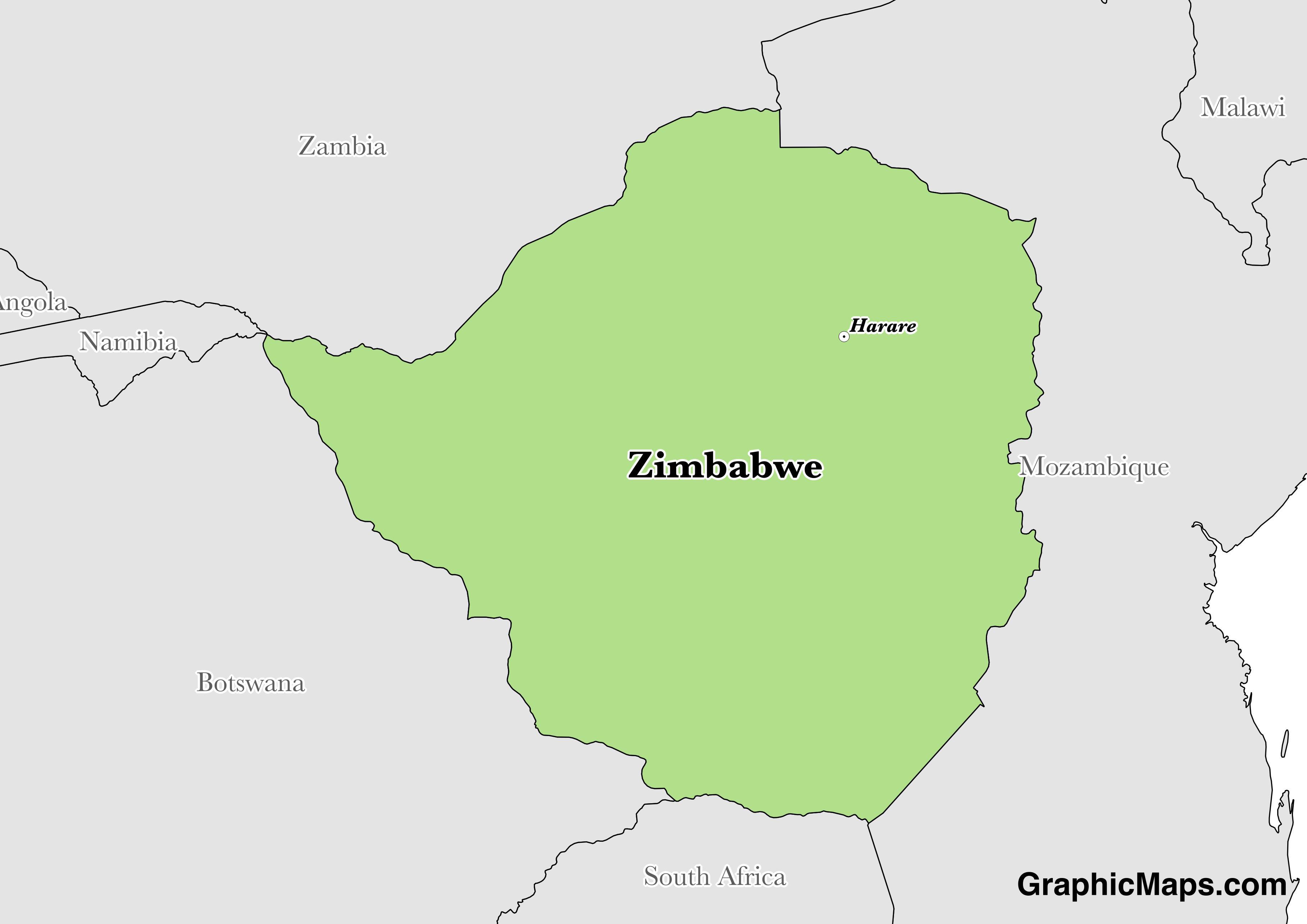 Map showing the location of Zimbabwe