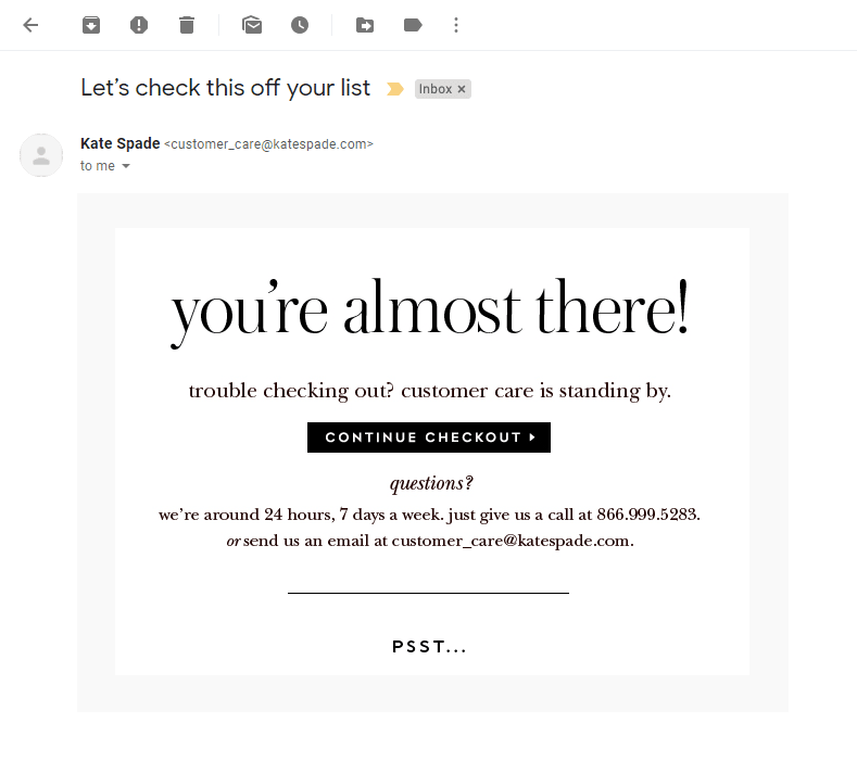 You are almost there email
