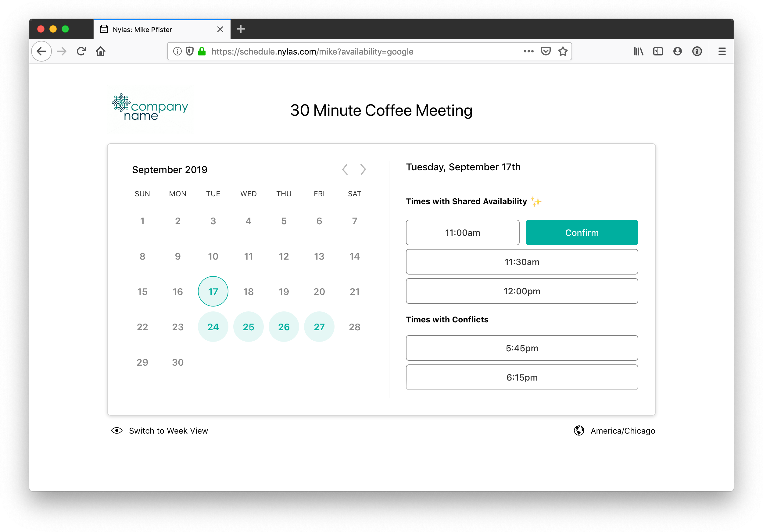 Example Scheduling Page