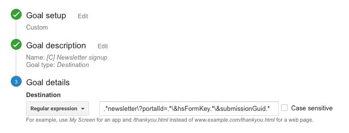 Newsletter signup goal inline