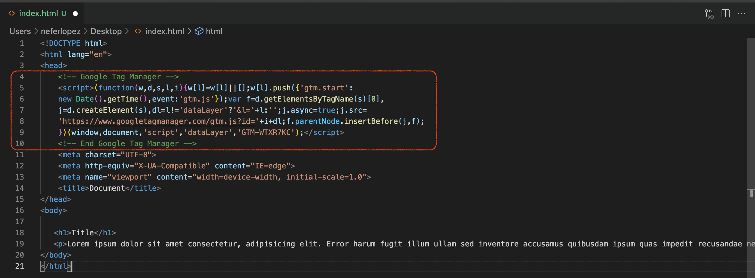 Code Snippet In Head Element