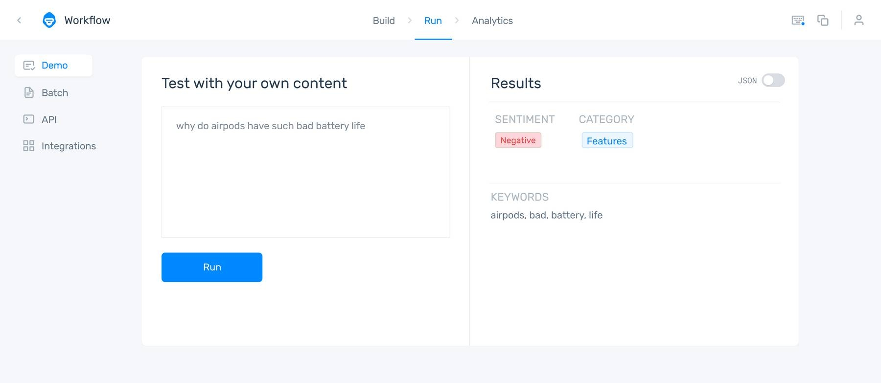 An aspect-based sentiment analysis worflow analysing the tweet 'why do airpods have such bad battery life' with a 'negative' sentiment and a 'features' classsification.