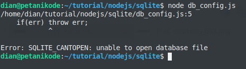 Nodejs connection with SQLite