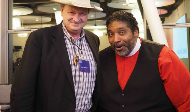 Reverend William Barber and David Crockett at the conference.