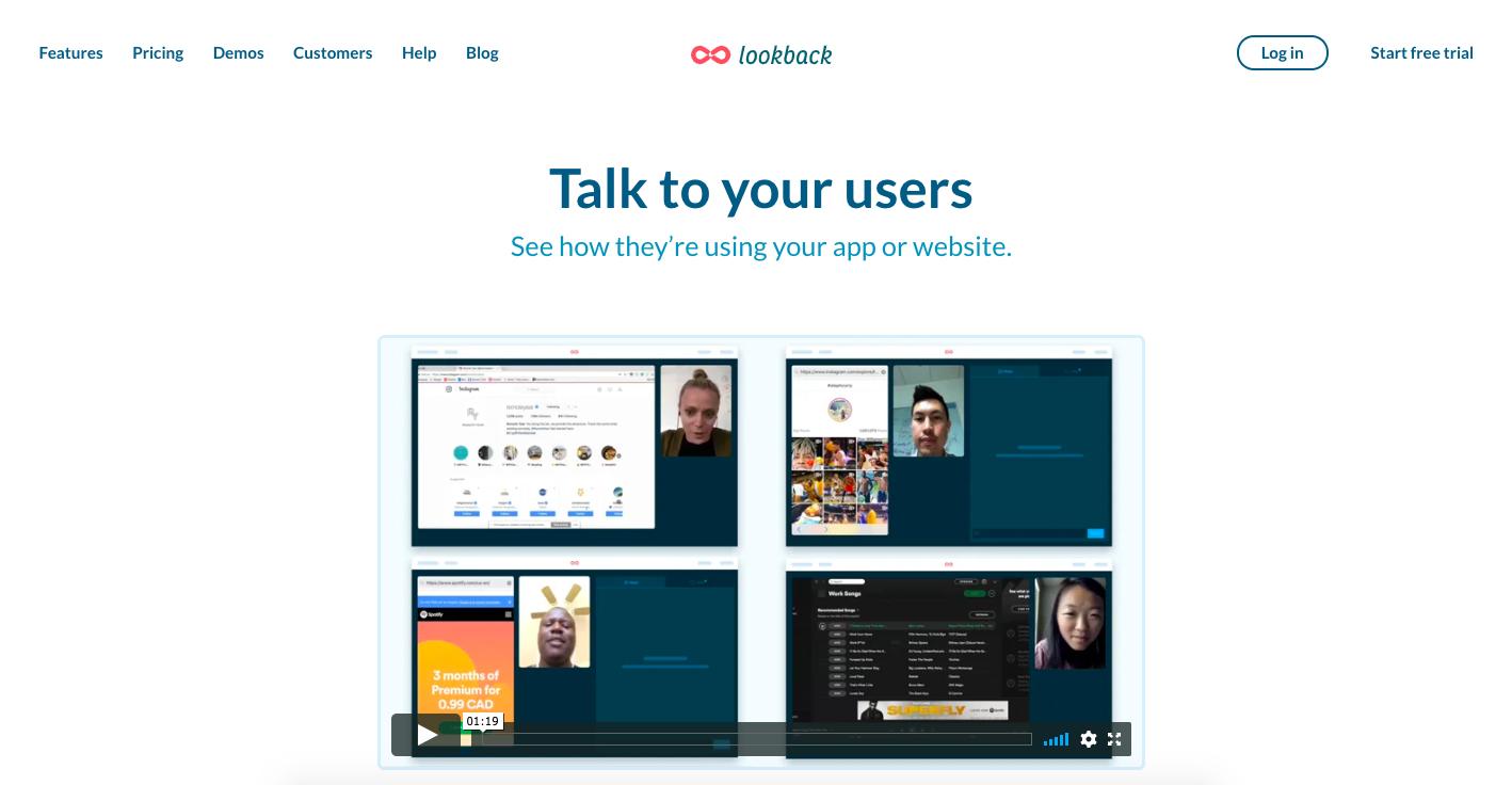 Screenshot of the Lookback homepage on April 22, 2020