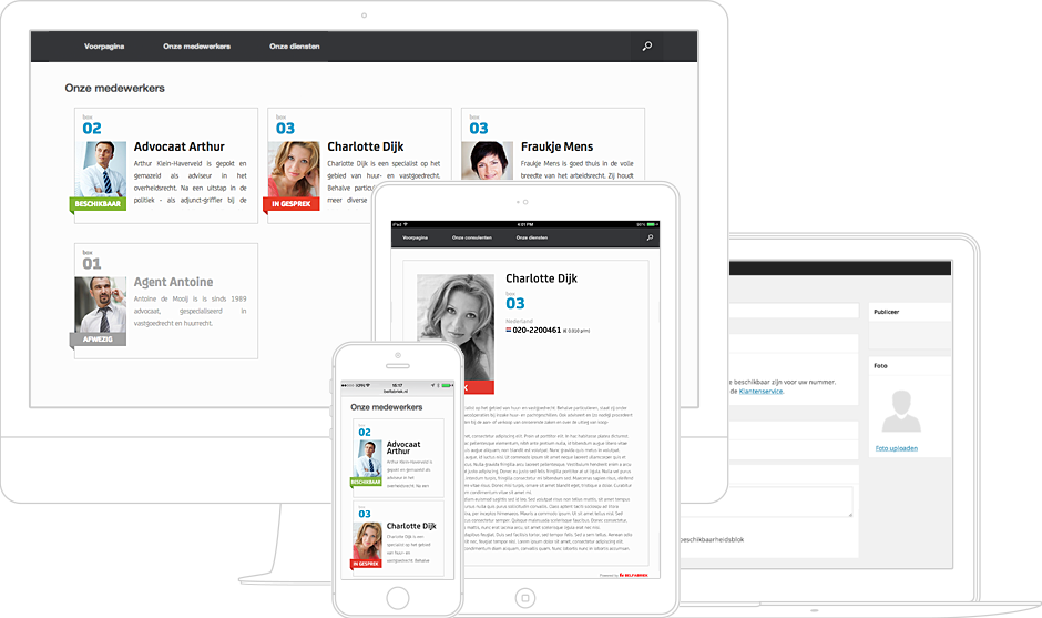 De Medewerker beschikbaarheid website plugin van de Belfabriek werkt zowel op desktop en tablet, als op uw mobiele telefoon.