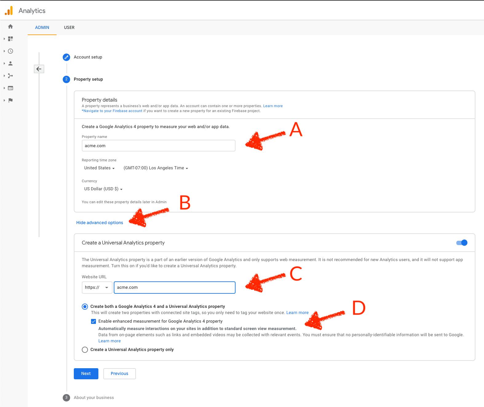 Google Analytics Property Setup
