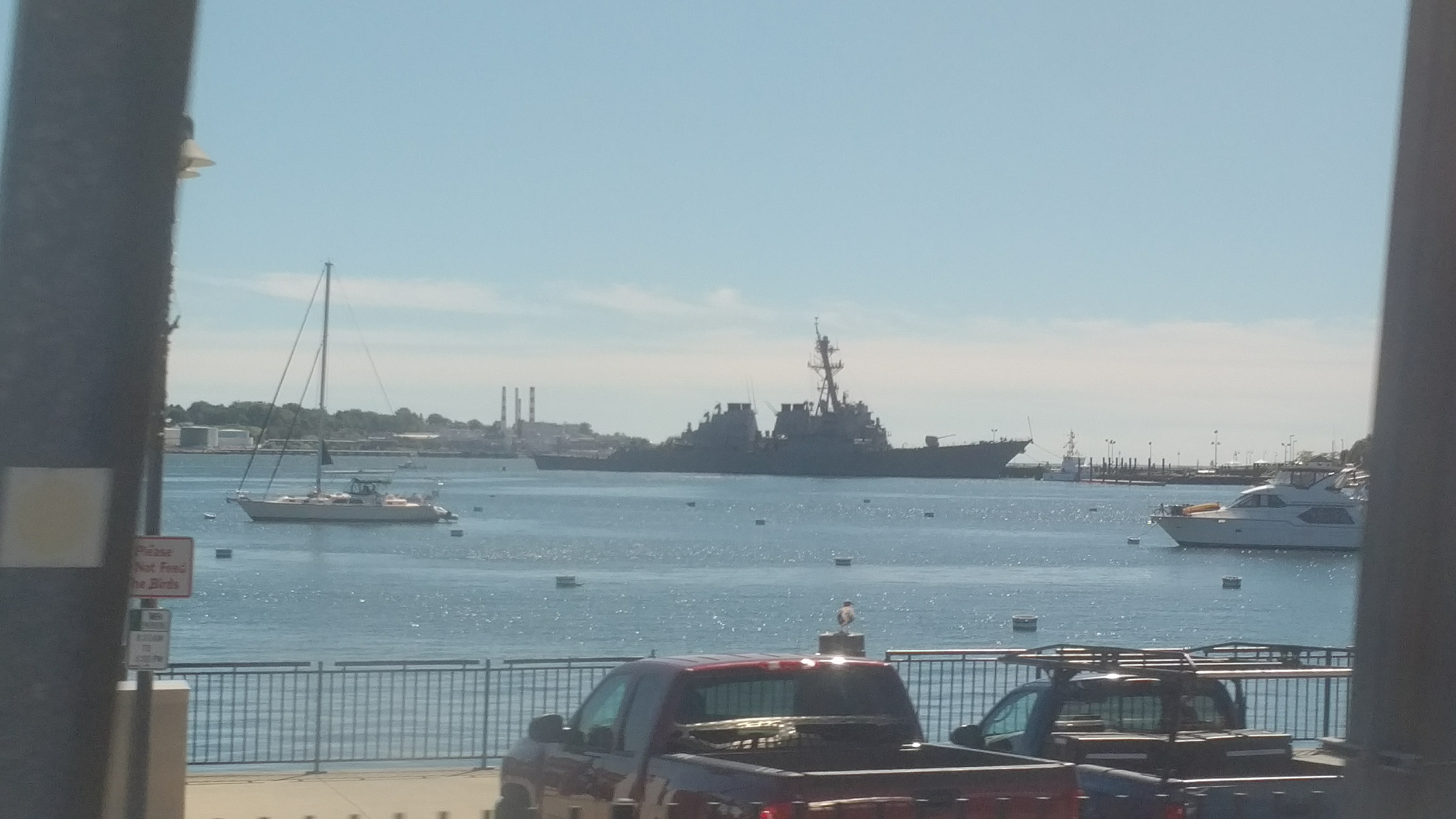 USS Truxtun docked New London, CT. Viewed from the Amtrak Acela Express