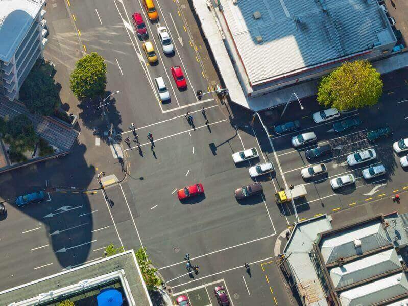 birdeye view of intersection