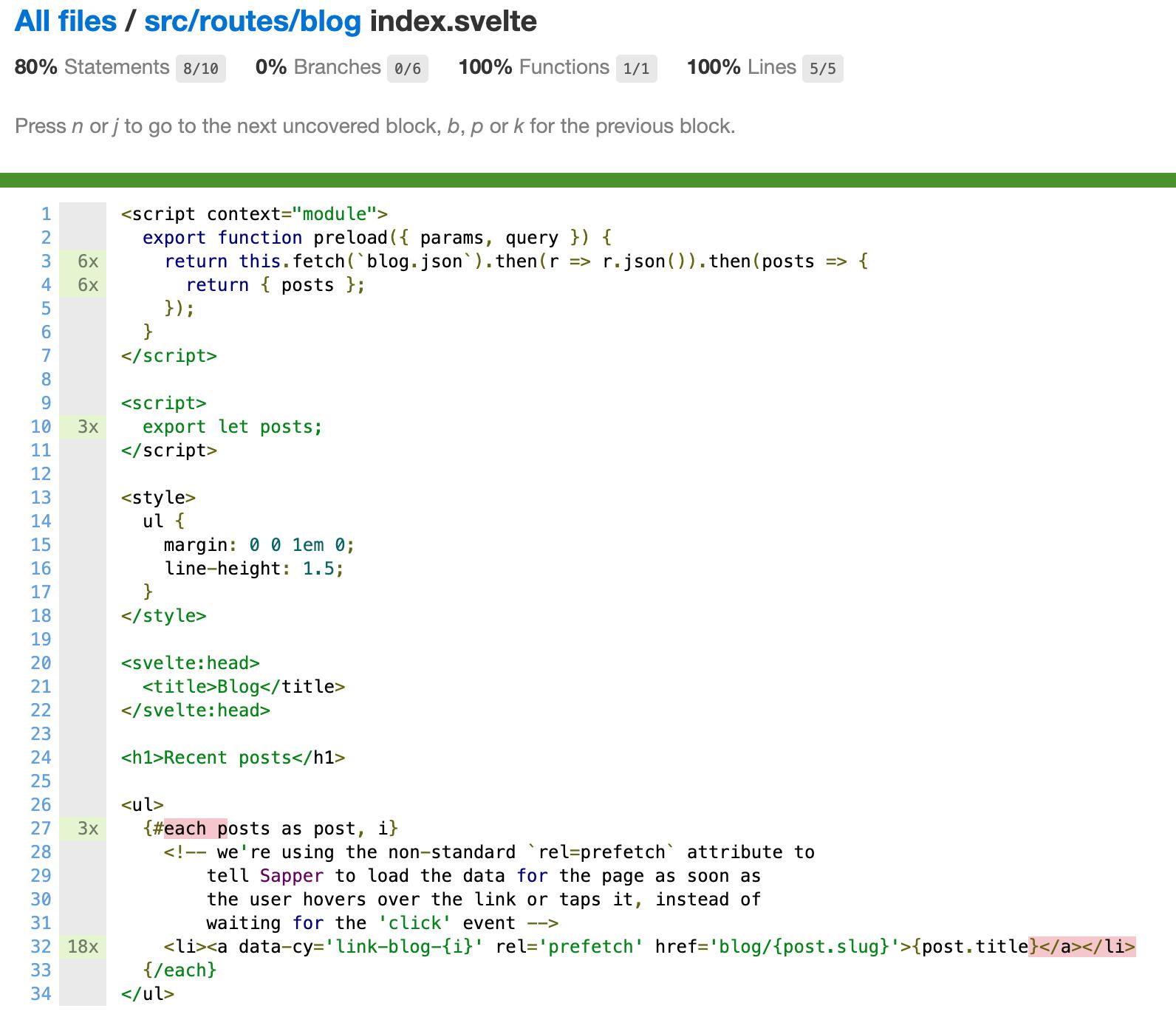code coverage svelte component