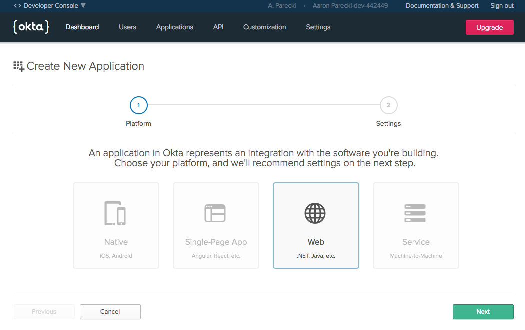 Create a web application with Okta