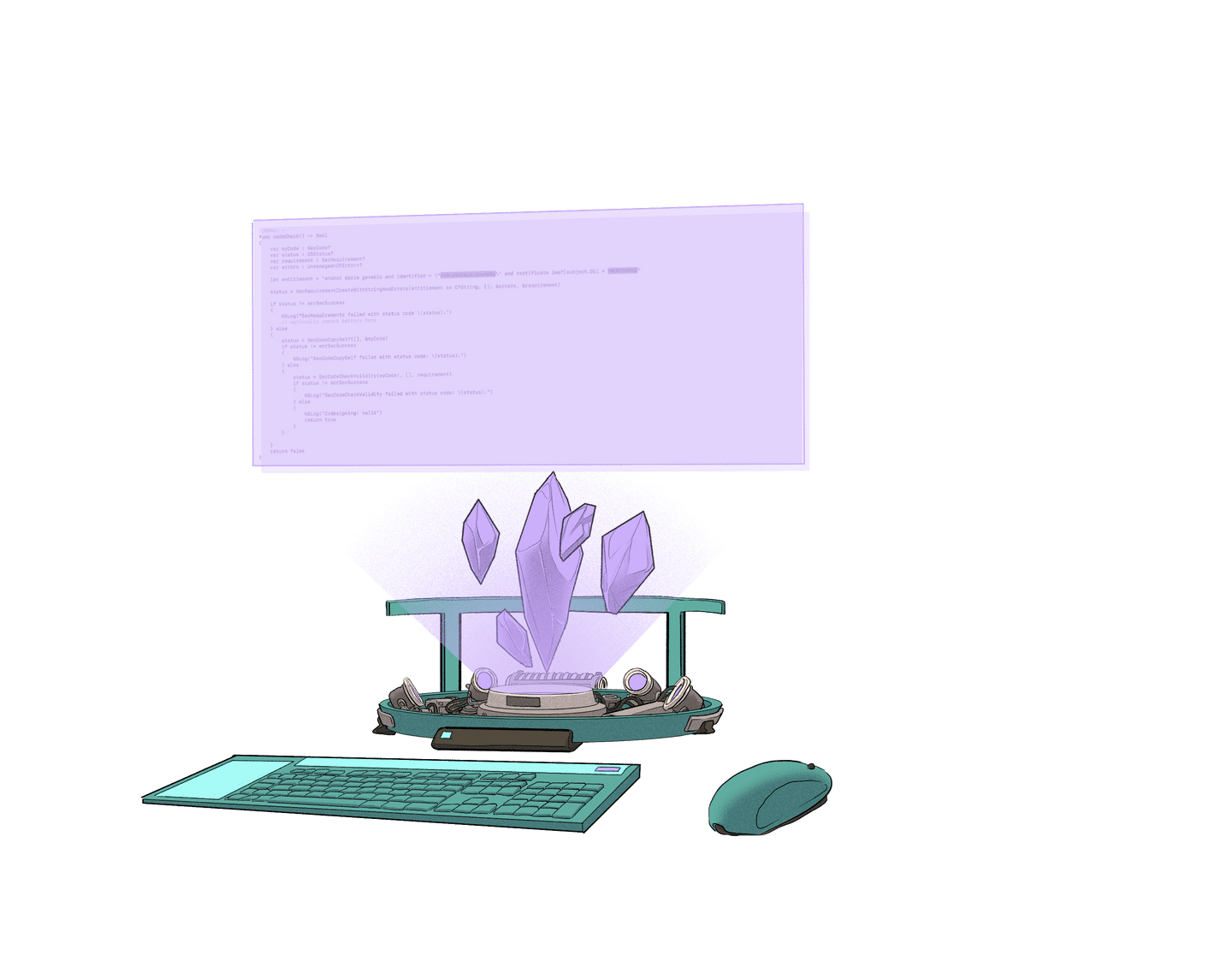 Illustration of a futuristic computer set up, powered by Ethereum crystals.