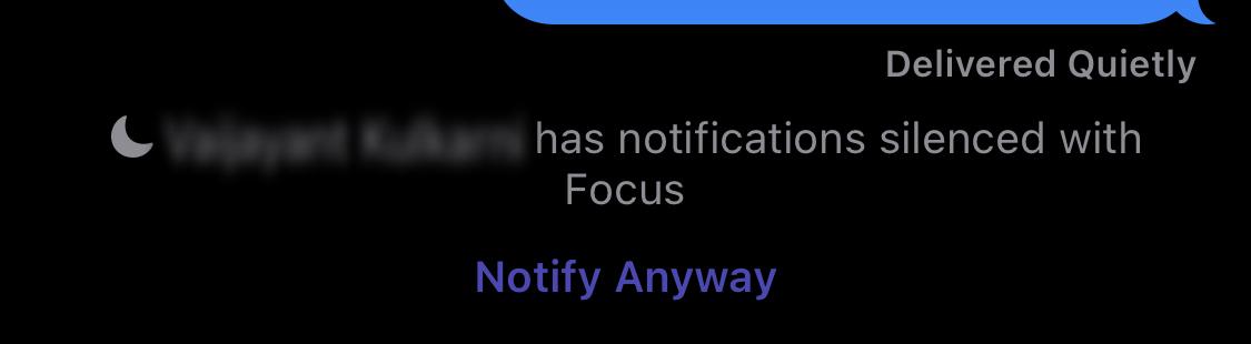 Example of Focus status on iOS 15