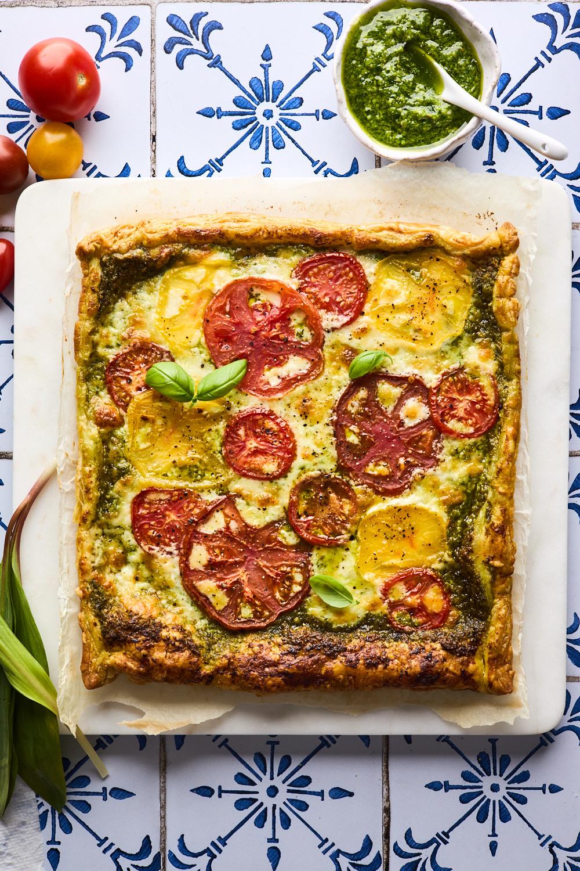 Tomato Pesto Puff Pastry Tart