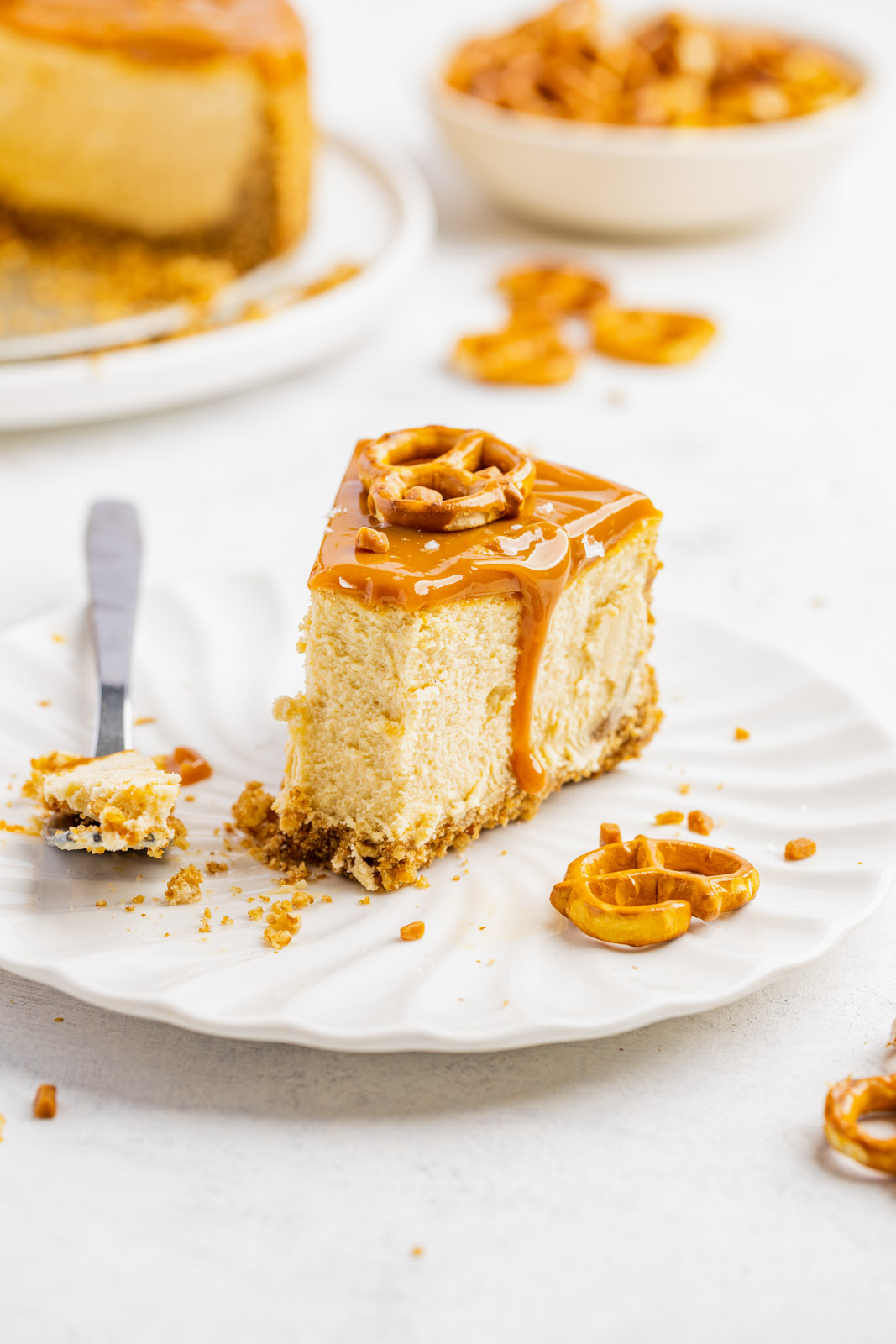 Caramel Cheesecake With a Pretzel Crust