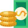 stack of cash and gold coin icon