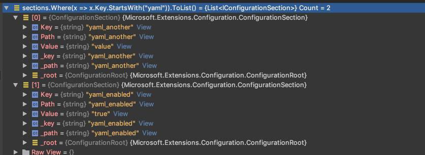 yaml configuration results