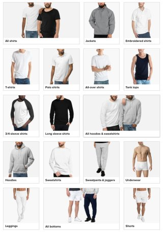 printful catalog men's clothing