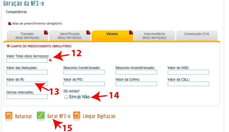 Passos 12, 13, 14 e 15 de como emitir nota fiscal BH ISS no simples nacional
