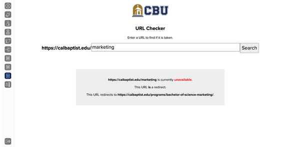 CBU Marketing Applications URL checker