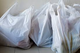several white plastic bags